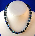 Bead necklace, blue black irridescent  faceted glass