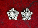 Rhinestone Hearts Silver Clip Earrings