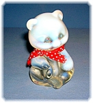 Click here to enlarge image and see more about item 0612200653: Fenton Opalescent Teddy Bear With Red Neck Tie