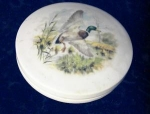 Click here to enlarge image and see more about item 061700205: English Porcelain trinket pot with lid - Malard duck