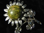 Old Silvertone Flower Pin Brooch