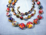 Necklace Millafiore Beaded  Italian Multi colored