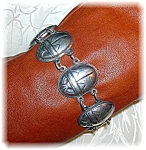 Click here to enlarge image and see more about item 0618200750: Sterling Silver Egyptian Beetle Scarob Bracelet