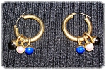 14K Gold Earrings Pearl Lapis and Black Onyx Drops.
