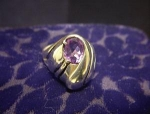 Sterling Silver Purple  Amethyst Designer Signed Ring