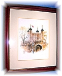 Click here to enlarge image and see more about item 06192006138: Small Framed English Print Tower Of London