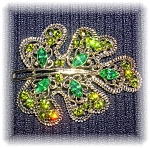 2 3/4 Inch Gold and Rhinestone Brooch Pin