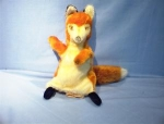 Click here to enlarge image and see more about item 06200219: Old Mohair 'Foxy' Puppet with Glass Eyes.