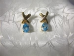 10K Gold and 5ct Blue Topaz Pierced Earrings