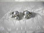 Click to view larger image of Silver and Pearl Clip Earrings JAPAN (Image1)