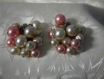 Click here to enlarge image and see more about item 06210209: Pink Pearl Cluster Clip Earrings KPA