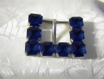 Click to view larger image of Vintage Claw Set Sapphire Glass Belt Buckle (Image1)