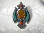 Scottish Sterling Silver Malachite  Brooch