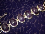 Click here to enlarge image and see more about item 06220223: Sterling Silver Cabochon Amethysts Bracelet Indonesia