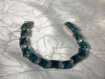 Click here to enlarge image and see more about item 06220247: Vintage Sterling Silver  Emerald Crystal Brac