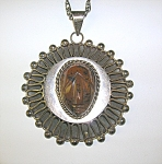 Click to view larger image of Necklace Sterling Silver Taxco Mexico PJB Tigerseye  (Image1)