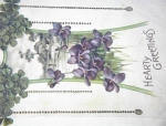 Click here to enlarge image and see more about item 06220255: Violets and Shamrocks Old Postcard.