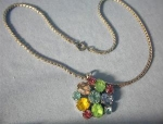 Necklace Coro Crystal Pendant  Sterling Silver Chain