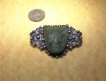 Mexican ESTERLIN 900 Silver and Green Jade Pin