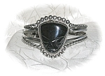 Click to view larger image of Signed Mexican Sterling & Onyx Cuff Bracelet (Image1)