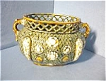 Click here to enlarge image and see more about item 06220308: Green Gold Majolica Bowl Stamped ALHAMBRIAN