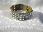 Vintage Crystal & Brass Adjustable Bangle Bracelet