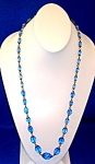 Antique Sapphire Blue Faceted Glass Bead Necklace