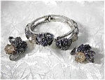 Vintage Grey Crystal Bracelet & Clip Earrings