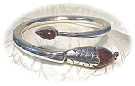 Click here to enlarge image and see more about item 0622200301: Snake Bracelet Sterling Silver Agate  TM-M7 Mexico