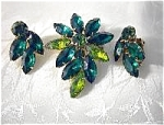 Emerald Green Crystal Weiss Brooch and Earrin