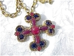 Necklace Brooch Cabochon Glass CAPRI Cross