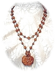 Necklace Carved GOLDSTONE Rose with Beads