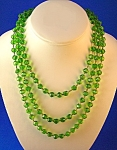 Antique Hand Knotted 57 Inch Apple Green Glass  Beads