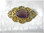 Click to view larger image of Gold Vermeil Over Silver Amethyst Brooch Italy (Image1)