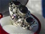 Sterling Silver Garnet Peridot Amethyst Ring