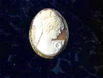 Click here to enlarge image and see more about item 0622200342:  Brooch Signed Gold Over 800 Silver Cameo