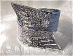 Click here to enlarge image and see more about item 0622200357: Huge  Glitzy Silver Mesh & Rhinestone Bracelet