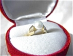 Ring  14K Gold and 7 1/2mm Solitaire Pearl