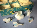 Click here to enlarge image and see more about item 06230201a: Old hand blown glass birds in original box