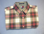 Click here to enlarge image and see more about item 06230222a: Long Sleeved XL TOMMY HILFIGER Plaid Shirt.