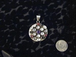 Click to view larger image of Sterling Silver Moonstone Amethys Garnet Pendant (Image1)