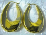 Large Gold Over Sterling Silver Hoop Pierced Earrings