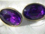 Vibrant & Large Amethyst Glass Clip Earrings