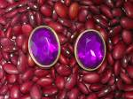 Click to view larger image of Vibrant & Large Amethyst Glass Clip Earrings (Image4)
