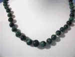 Click to view larger image of Graduated Malachite Glass Spacer Bead Necklace . (Image1)