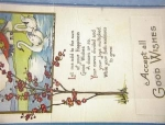 Click here to enlarge image and see more about item 06230283: 1920 Accept All Good Wishes Postcard w/ stamp