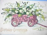Click here to enlarge image and see more about item 06230286: 1917 Lilies of the Valley Birthday Greetings