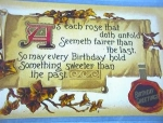 Click here to enlarge image and see more about item 06230291: Very Old Birthday Post Card.