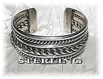 Click here to enlarge image and see more about item 03132007a: Native American Sterling Silver Cuff Signed J
