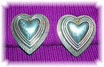 1 1/4 Inch Raised Hearts Silver  Clip Earrings